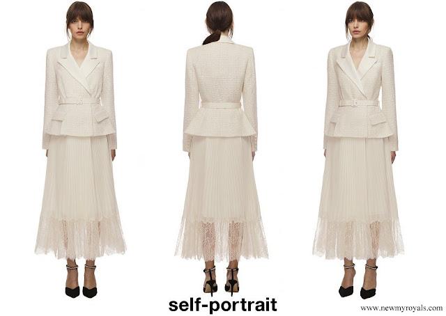 Kate Middleton wore Self Portrait Cream Tailored Boucle And Chiffon Midi Dress