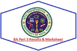 Kota University BA 3rd Year Result 2021