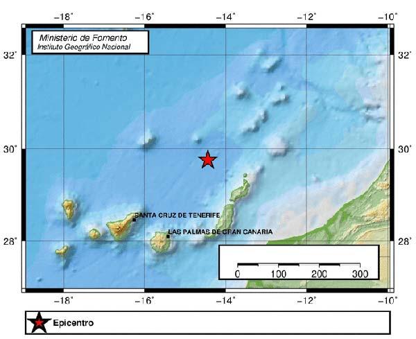 Se registra un terremoto de 3 grados en el Atlántico Canarias de magnitud 3 y a tan sólo 4 kilómetros de profundidad