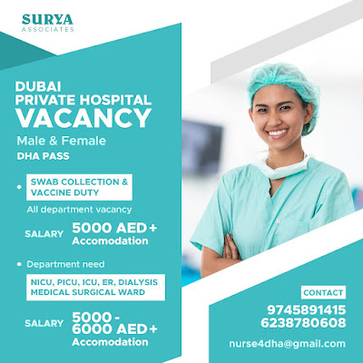 DUBAI PRIVATE HOSPITAL MALE & FEMALE STAFF NURSES VACANCY 2021