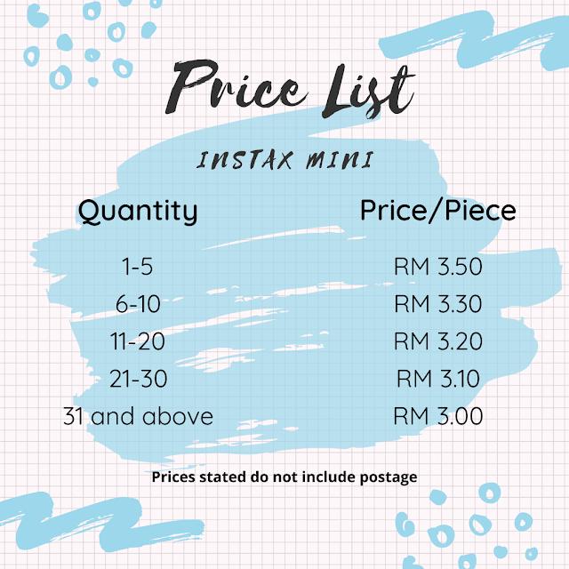 instax FUJIFILM Printing Service - instax Mini & instax Square - instax Mini price list