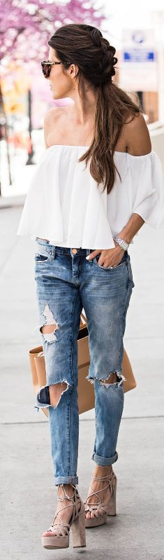 summer casual style addiction: top + rips + bag