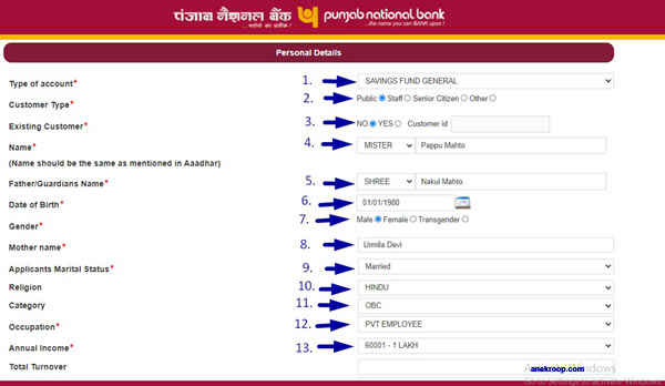 pnb account opening form