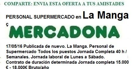 La Manga, Murcia, Mercadona. Ofertas de empleo