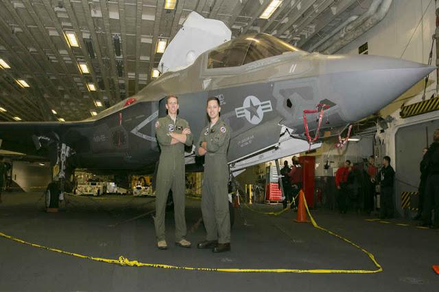 USAF pilots fly F-35 USS America