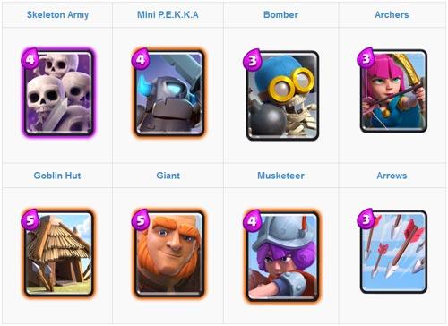 Melawan pasukan hitpoint tinggi dengan Skeleton Army Deck Card