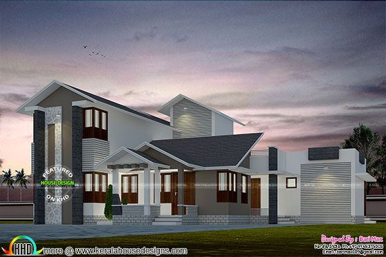 2615 sq-ft Sloping roof home