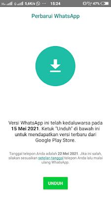 Aplikasi WhatsApp Sudah Kedaluwarsa