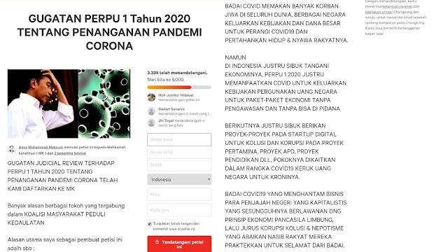 Petisi Gugat Perppu Covid-19 : Manfaatkan Pandemik Virus Corona untuk Mengeruk Uang Negara