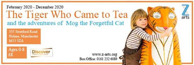 Z Arts The Tiger That Came To Tea and Mog the cat banner advert