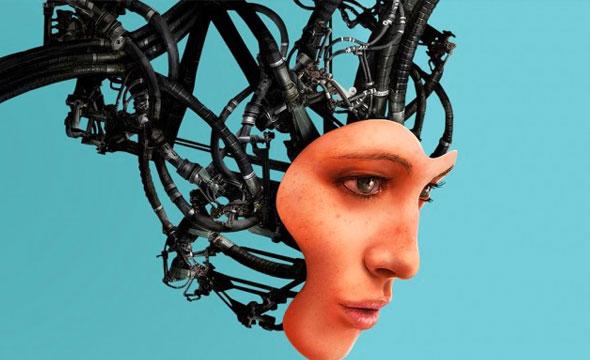 Rostro femenino robótico que expone los circuitos y conexiones internas