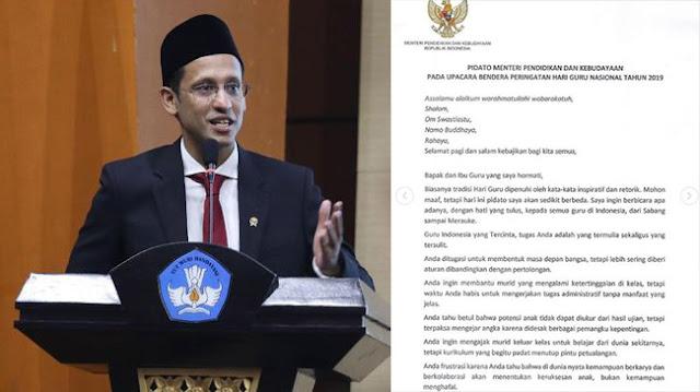 Isi Teks Lengkap Pidato Nadiem Makarim untuk Hari Guru 25 November 2019 yang Viral