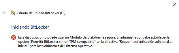 Windows: BitLocker sin TPM