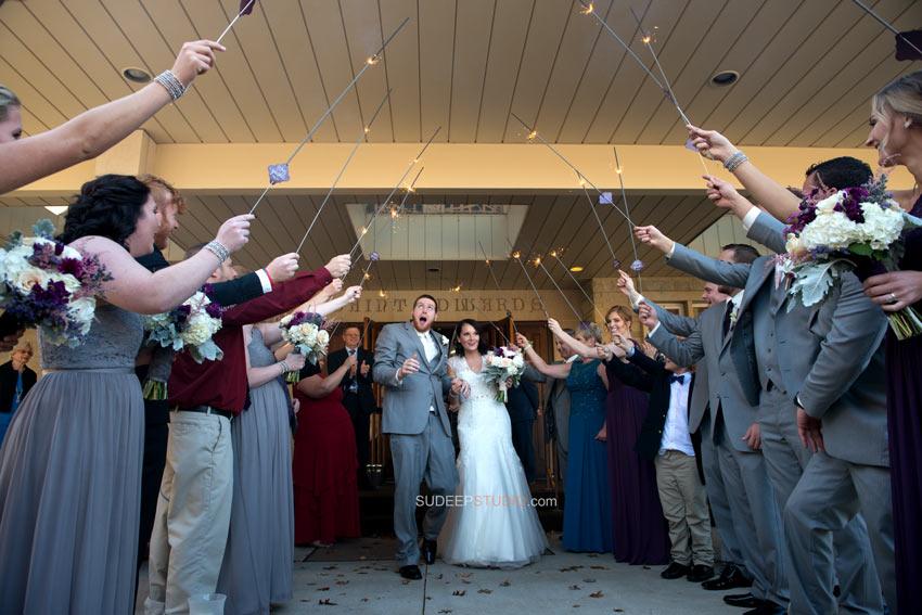 Daytime Wedding sparklers exit Ann Arbor Wedding Photos - Sudeep Studio.com Ann Arbor Wedding Photographer