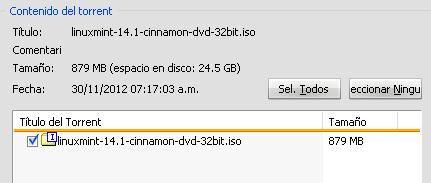 Cuadro con los archivos del torrent