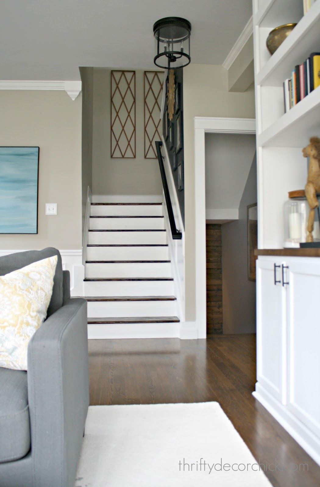 How To Remove Carpet From Stairs. Wood Treads And White Risers ...
