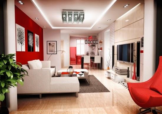 Diseños sala blanco rojo