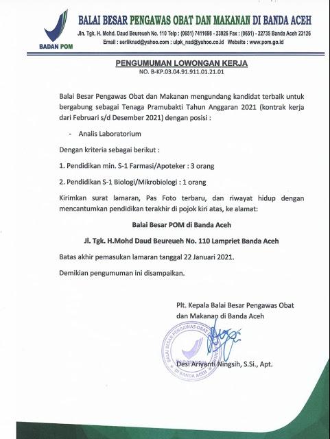 Lowongan Kerja Tenaga Kontrak Balai Besar Pengawas Obat dan Makanan Januari 2021