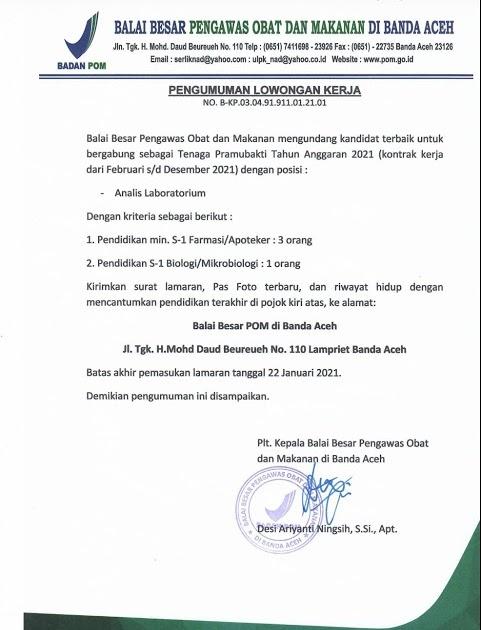 Lowongan Kerja Tenaga Kontrak Balai Besar Pengawas Obat Dan Makanan Januari 2021 Rekrutmen Lowongan Kerja Cpns Bumn Bulan Agustus 2021