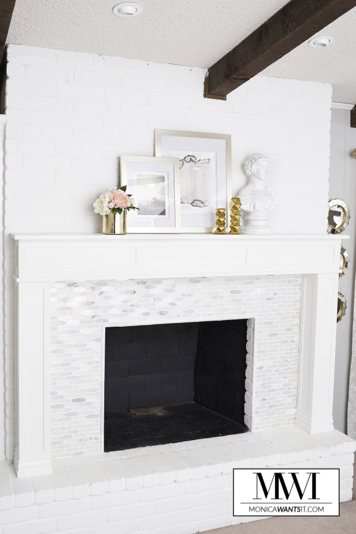 DIY Marble Fireplace & Mantel Makeover | Monica Wants It