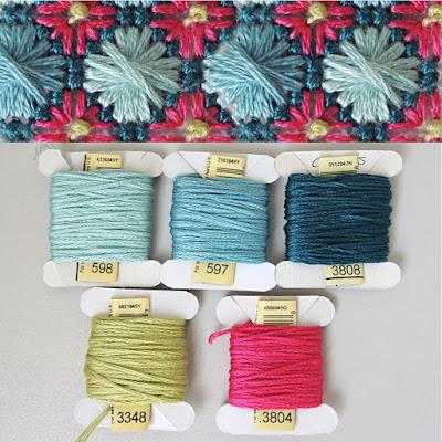 DMC 598, 597, 3808, 3348, 3804 thread palette
