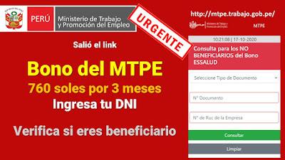 Salió el link Bono del MTPE 760 soles por 3 meses Ingresa tu DNI Verifica si eres beneficiario
