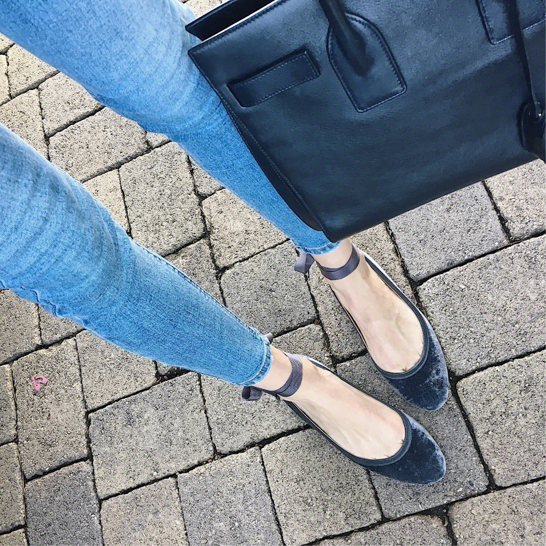 navy ballet flats and navy ysl