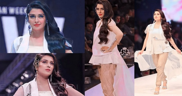 Ayeza Khan Modeling walk With White Dress