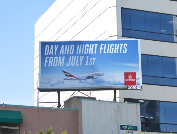 Day night flights 1 July 2016 Emirates billboard