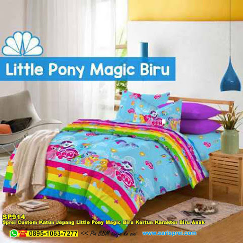 Sprei Custom Katun Jepang Little Pony Magic Biru Kartun Karakter Biru Anak