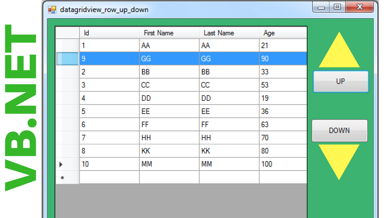 Vb net move datagridview row up and down c java php - Move table rows up and down using jquery ...