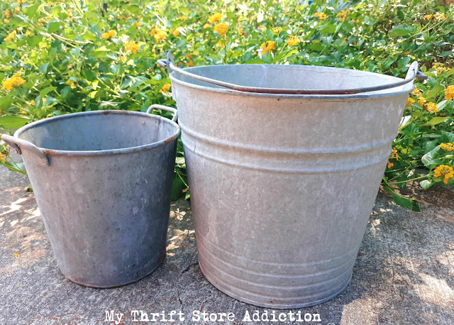 vintage yard sale buckets