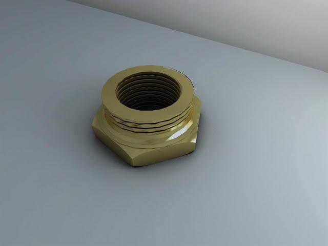 AutoCAD 3D y Render - pieza 5 - Reducción hexagonal 6