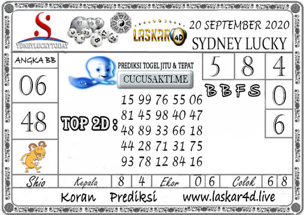 Prediksi Sydney Lucky Today LASKAR4D 20 SEPTEMBER 2020