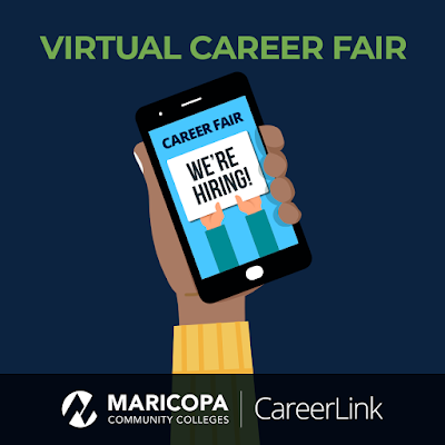 "Graphic shows a person holding a phone that reads, ""career fair, We're hiring!"""