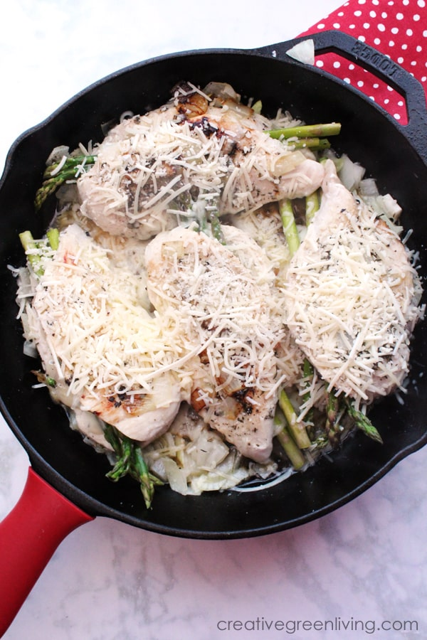 How to make Italian style provolone and asparagus stuffed chicken breasts topped with Parmesan cheese