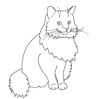 line art cat sitting free download