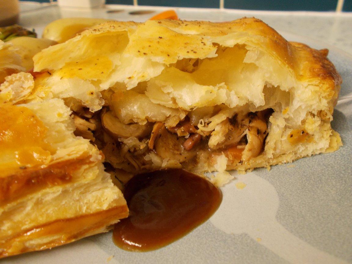 Chicken, mushroom & black garlic puff pastry slices - it's British Pi...