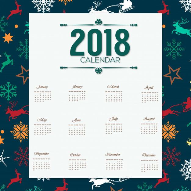 2018 calender desgin with chrismas pattern Free Vector