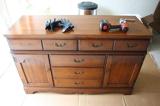 Repurposed Antique Dresser As A Kitchen Island With A: Colorful Dresser To Kitchen Island Upcylce