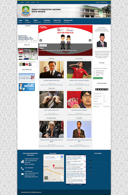 Screen Shot tampilan beranda Template CMS Lokomedia Dispenda