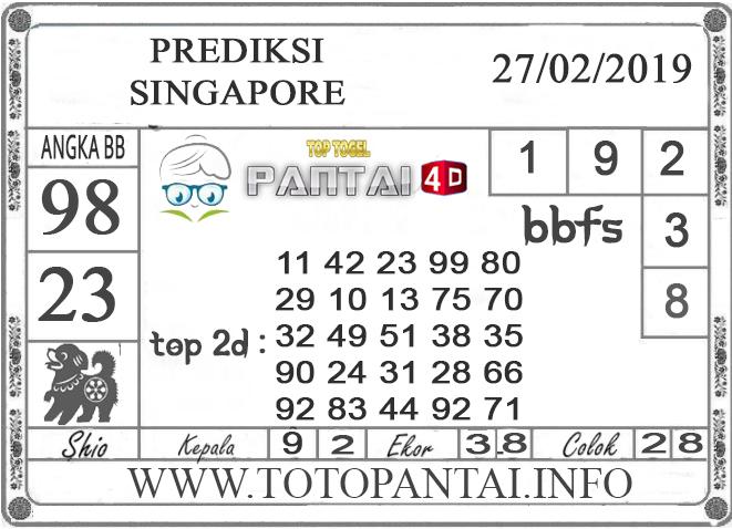 """Prediksi Togel """"SINGAPORE"""" PANTAI4D 27 FEBRUARI 2019"""