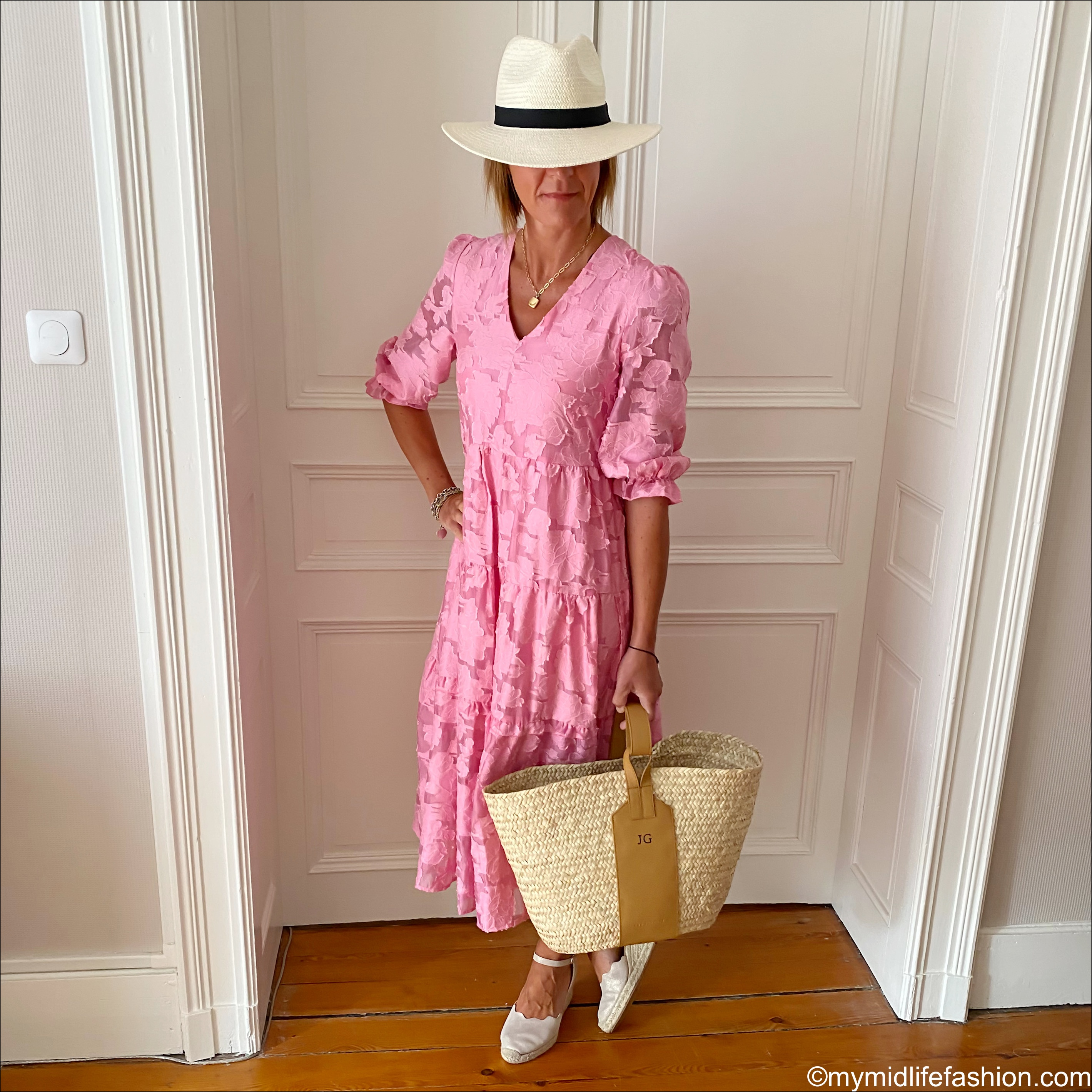 Plumo studio selected femme Eda dress, rae feather grace monogrammed basket, hush Panama hat, Carl Scarpa espadrille wedge sandals