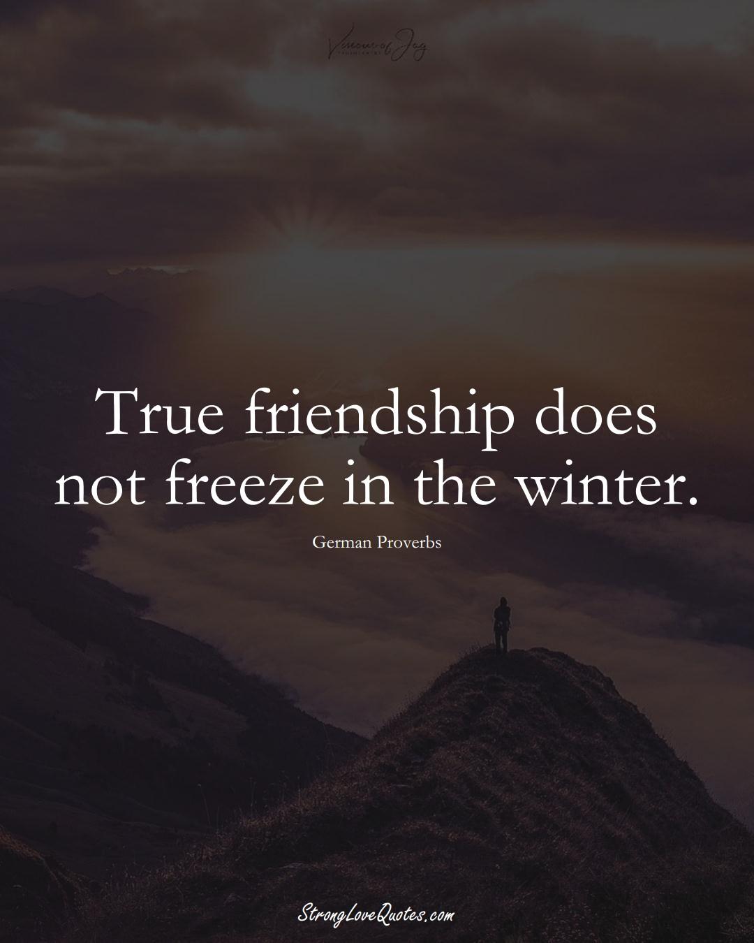 True friendship does not freeze in the winter. (German Sayings);  #EuropeanSayings