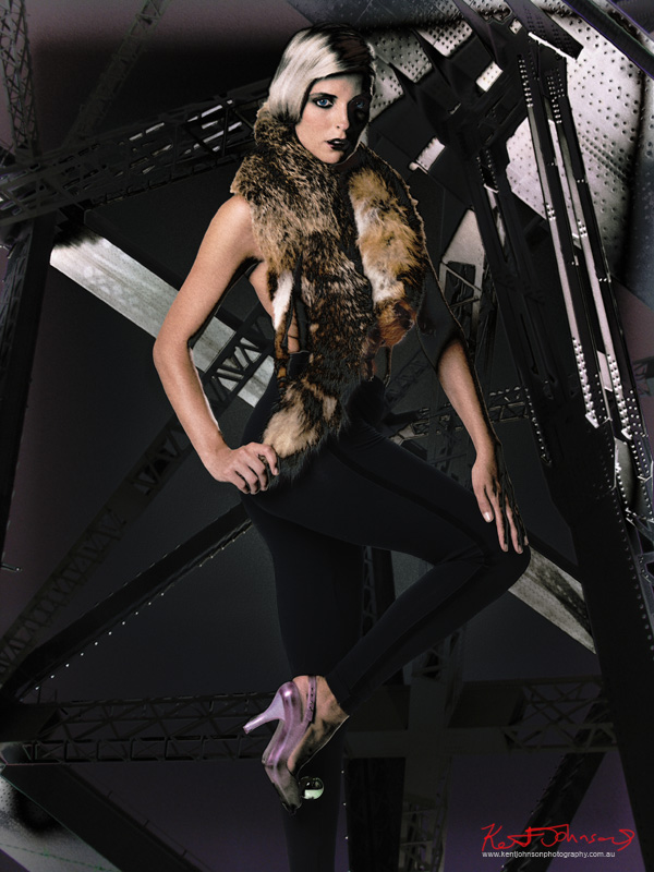 Vintage Fox stole and black dress leggings - A Constructivist style fashion photoshoot incoprating the Sydney Harbour Bridge at night, concept and photography by Kent Johnson