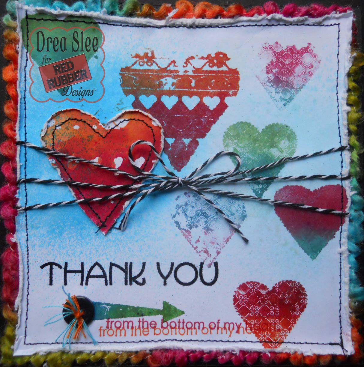 drea's scraps of inspiration hearts thank you card  red