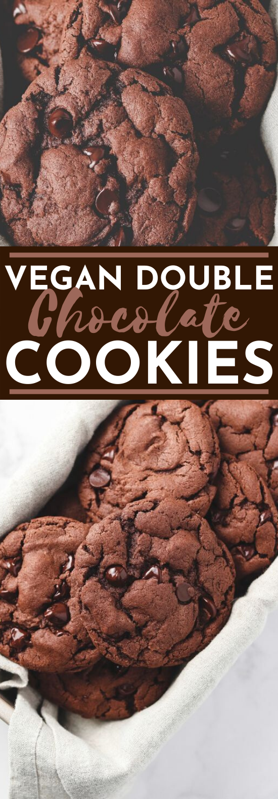 Vegan Double Chocolate Cookies #cookies #chocolate #desserts #baking #recipes