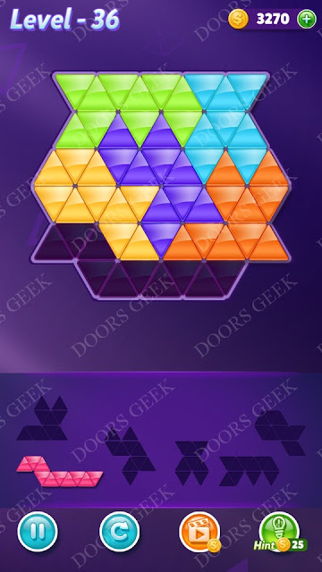 Block! Triangle Puzzle Intermediate Level 36 Solution, Cheats, Walkthrough for Android, iPhone, iPad and iPod