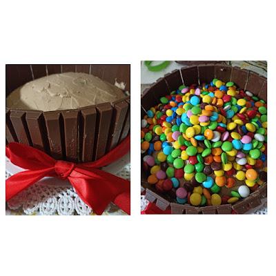 Torta con M&M'S e KItKat, gravity cake