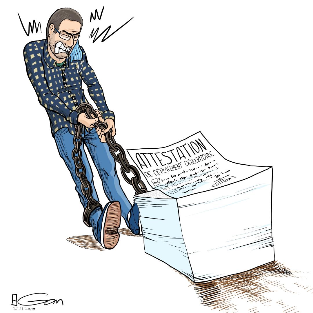 un homme tire une pile d'attestations dérogatoires à laquelle il est attaché